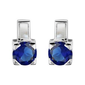 1001 Bijoux - Boucles d'oreille tige argent rhodié avec nacre blanche et pierre ronde bleu foncé pas cher