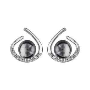 1001 Bijoux - Boucles d'oreille tige argent rhodié perle syhnthétique grise avec oxydes blancs sertis pas cher