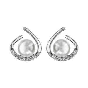 1001 Bijoux - Boucles d'oreille tige argent rhodié perle synthétique blanche avec oxydes blancs sertis pas cher