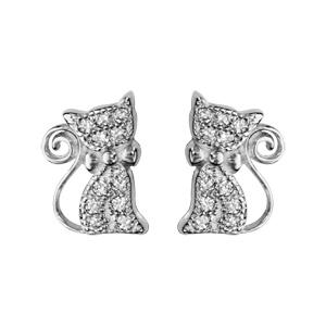 1001 Bijoux - Boucles d'oreille tige argent rhodié chat oxydes blancs sertis pas cher