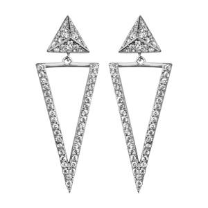 1001 Bijoux - Boucles d'oreille tige argent rhodié 2 triangles oxydes blancs sertis pas cher
