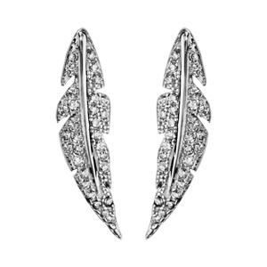 1001 Bijoux - Boucles d'oreille tige argent rhodié plume oxydes blancs sertis pas cher