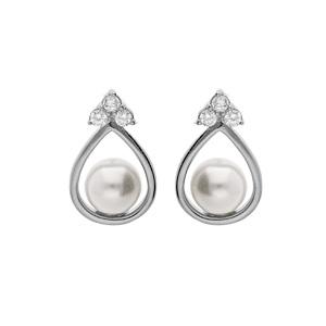 1001 Bijoux - Boucles d'oreille tige argent rhodié forme goutte avec perle grise et 3 oxydes blancs sertis pas cher