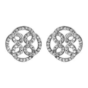 Image of Boucles d'oreille tige argent rhodié pendantes rosace oxydes blancs sertis