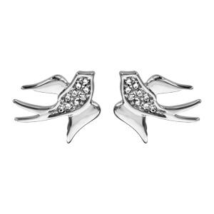 1001 Bijoux - Boucles d'oreille tige argent rhodié hirondelle oxydes blancs sertis pas cher