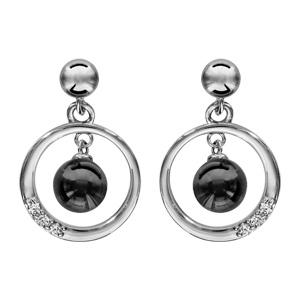 1001 Bijoux - Boucles d'oreille tige argent rhodié cercle avec boule céramique noire pas cher