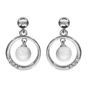 1001 Bijoux - Boucles d'oreille tige argent rhodié cercle avec boule céramique blanche pas cher