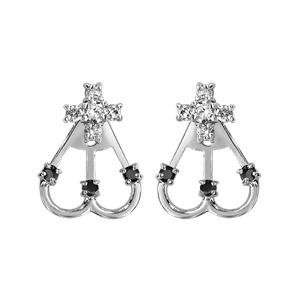 1001 Bijoux - Boucles d'oreille tige argent rhodié suspension 2 éléments 1 fleur oxydes blancs sertis et 2 arceaux pierres noires pas cher