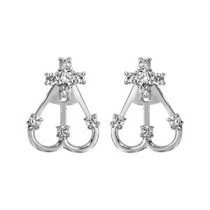 1001 Bijoux - Boucles d'oreille tige argent rhodié suspension 2 éléments 1 fleur oxydes blancs sertis et 2 arceaux pierres blanches pas cher