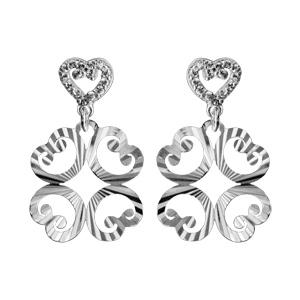 1001 Bijoux - Boucles d'oreille tige argent rhodié coeur oxydes blancs sertis et pendant 4 motifs diamantés pas cher