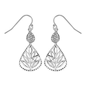 1001 Bijoux - Boucles d'oreille crochet argent rhodié goutte oxydes blancs sertis et pendant goutte feuille pas cher