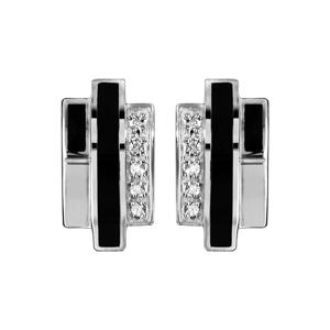 1001 Bijoux - Boucles d'oreille argent rhodié 3 tiges résine noir et oxydes blancs pas cher