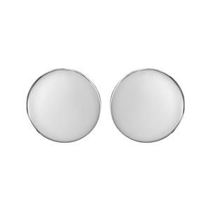 Boucles D'oreille en argent rhodié ronde lisse de 14mm à graver et fermoir tige à poussette