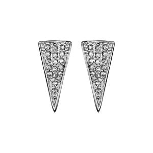 1001 Bijoux - Boucles d'oreille tige argent rhodié forme triangle pavé oxydes blancs pas cher