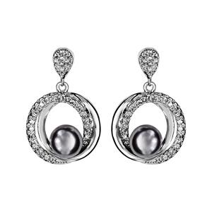 1001 Bijoux - Boucles d'oreille tige argent rhodié double cercle oxydes blancs sertis avec perle grise pas cher