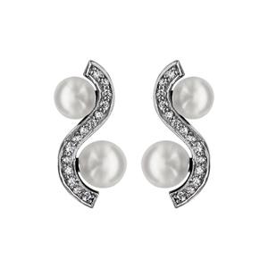 1001 Bijoux - Boucles d'oreille tige argent rhodié forme vague oxydes blancs sertis avec 2 perles d'eau douce blanches pas cher