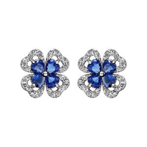 1001 Bijoux - Boucles d'oreille tige argent rhodié trèfle pierre bleu entourage oxydes blancs sertis pas cher