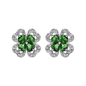 1001 Bijoux - Boucles d'oreille tige argent rhodié trèfle pierre verte entourage oxydes blancs sertis pas cher