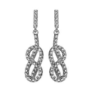 1001 Bijoux - Boucles d'oreille tige argent rhodié noeud marin oxydes blancs sertis pas cher