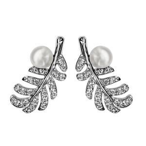 Image of Boucles d'oreille tige argent rhodié plume oxydes blancs avec perle blanche