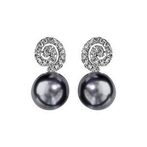 1001 Bijoux - Boucles d'oreille tige argent rhodié spirale oxydes blancs sertis avec perle grise pas cher