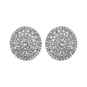 1001 Bijoux - Boucles d'oreille tige argent rhodié forme ovale ajourée oxydes blancs sertis pas cher