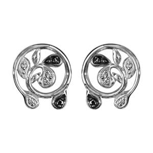 1001 Bijoux - Boucles d'oreille tige argent rhodié ronde feuilles pierres noires et oxydes blancs sertis pas cher