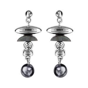 1001 Bijoux - Boucles d'oreille tige argent rhodié pendante style chinois avec nacre noire et perle grise pas cher