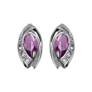 1001 Bijoux - Boucles d'oreille tige argent rhodié navette pierre violette entourage oxydes blancs sertis pas cher