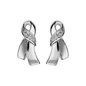Image of Boucles d'oreille tige argent rhodié forme noeud oxydes blancs sertis