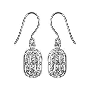 1001 Bijoux - Boucles d'oreille argent rhodié crochet pendante ovale oxyde blancs sertis pas cher