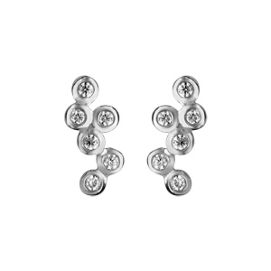 1001 Bijoux - Boucles d'oreille tige argent rhodié grappe oxydes blancs sertis clos pas cher