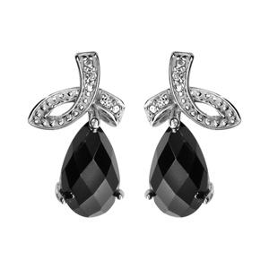 1001 Bijoux - Boucles d'oreille tige argent rhodié goutte pierre noire facette et oxydes blancs sertis pas cher