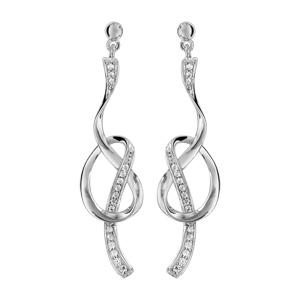1001 Bijoux - Boucles d'oreille tige argent rhodié forme boucle avec oxydes blancs sertis pas cher