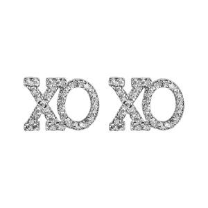 1001 Bijoux - Boucles d'oreille tige argent rhodié decoupe xo oxydes blancs sertis symbole etreinte et baiser pas cher