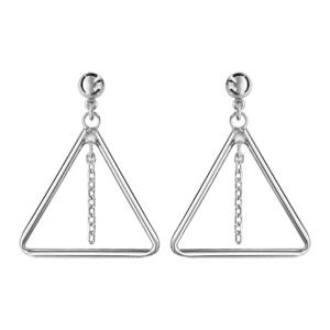1001 Bijoux - Boucles d'oreille tige argent rhodié triangle avec chaînette pas cher