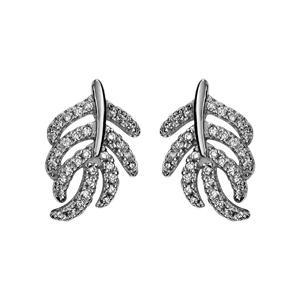 Image of Boucles d'oreille tige argent rhodié feuille oxydes blancs sertis