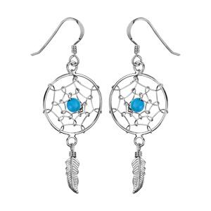 1001 Bijoux - Boucles d'oreille argent rhodié crochet attrape rêve 18mm 1 boule turquoise et plume pas cher