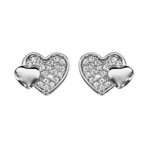 Image of Boucles d'oreille tige argent rhodié double coeur pave oxydes blancs et lisse