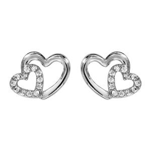 Image of Boucles d'oreille tige argent rhodié double coeur croisé oxydes blancs