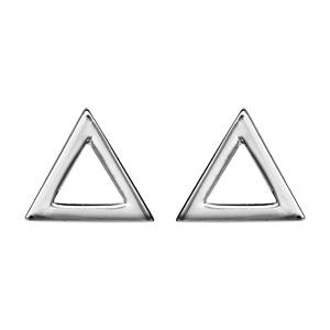 1001 Bijoux - Boucles d'oreille tige argent rhodié triangle évidé pas cher