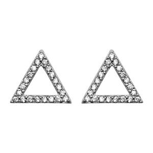1001 Bijoux - Boucles d'oreille tige argent rhodié forme triangle évidé oxydes blancs pas cher