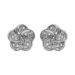 1001 Bijoux - Boucles d'oreille tige argent rhodié forme fleur oxydes blancs pas cher
