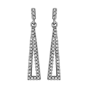 1001 Bijoux - Boucles d'oreille tige argent rhodié pendant triangle alonge évidé oxydes blancs pas cher