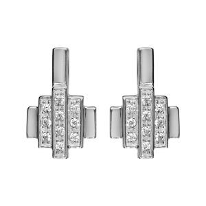 1001 Bijoux - Boucles d'oreille tige argent rhodié formes géometriques oxydes blancs sertis pas cher