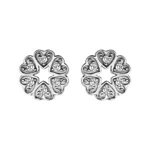 1001 Bijoux - Boucles d'oreille tige argent rhodié ronde multi coeurs oxydes blancs sertis pas cher