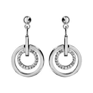 1001 Bijoux - Boucles d'oreille tige argent rhodié 1 anneau lisse et 1 anneau oxydes pas cher