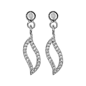 1001 Bijoux - Boucles d'oreille tige argent rhodié feuille ajourée oxydes blancs pas cher