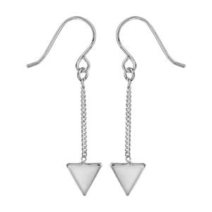 1001 Bijoux - Boucles d'oreille argent rhodié fermoir crochet chaînette triangle pas cher