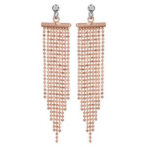 Boucles D'oreilles pendantes en argent rhodié et dorure rose barrette avec plusieurs chaînettes de taille dégradée accrochées et fermoir tige à poussette